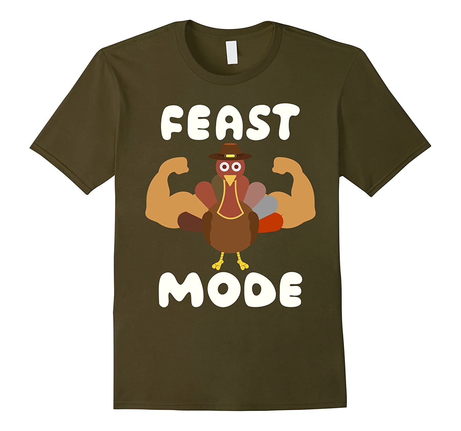 Funny Thanksgiving Holiday Feast Mode Turkey Tee Shirt-ANZ