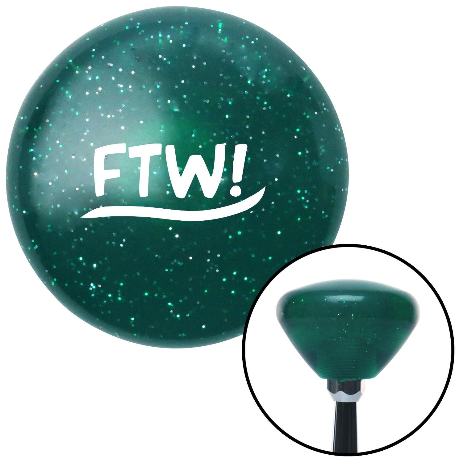 White FTW! American Shifter 205725 Green Retro Metal Flake Shift Knob with M16 x 1.5 Insert