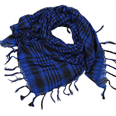 c6fee05d6332 Fulltime(TM) 1PC Unisexe Arabe Shemagh Keffiyeh Palestine Foulard écharpe  châle (Bleu)