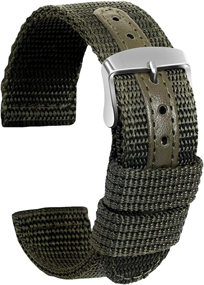 Ullchro Nylon Correa Reloj Calidad Alta Lienzo Correa Relojes Militar del ejército - 18mm, 20mm, 22mm, 24mm Correa Reloj con Hebilla de Acero Inoxidable (24mm, Verde Militar): Amazon.es: Relojes