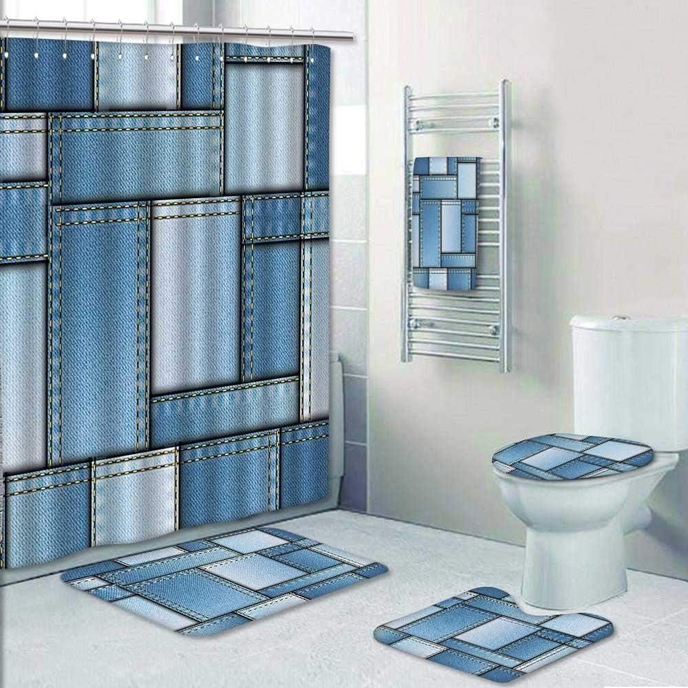 Blue Shower Curtain Denim Patchwork Pattern Print for Bathroom