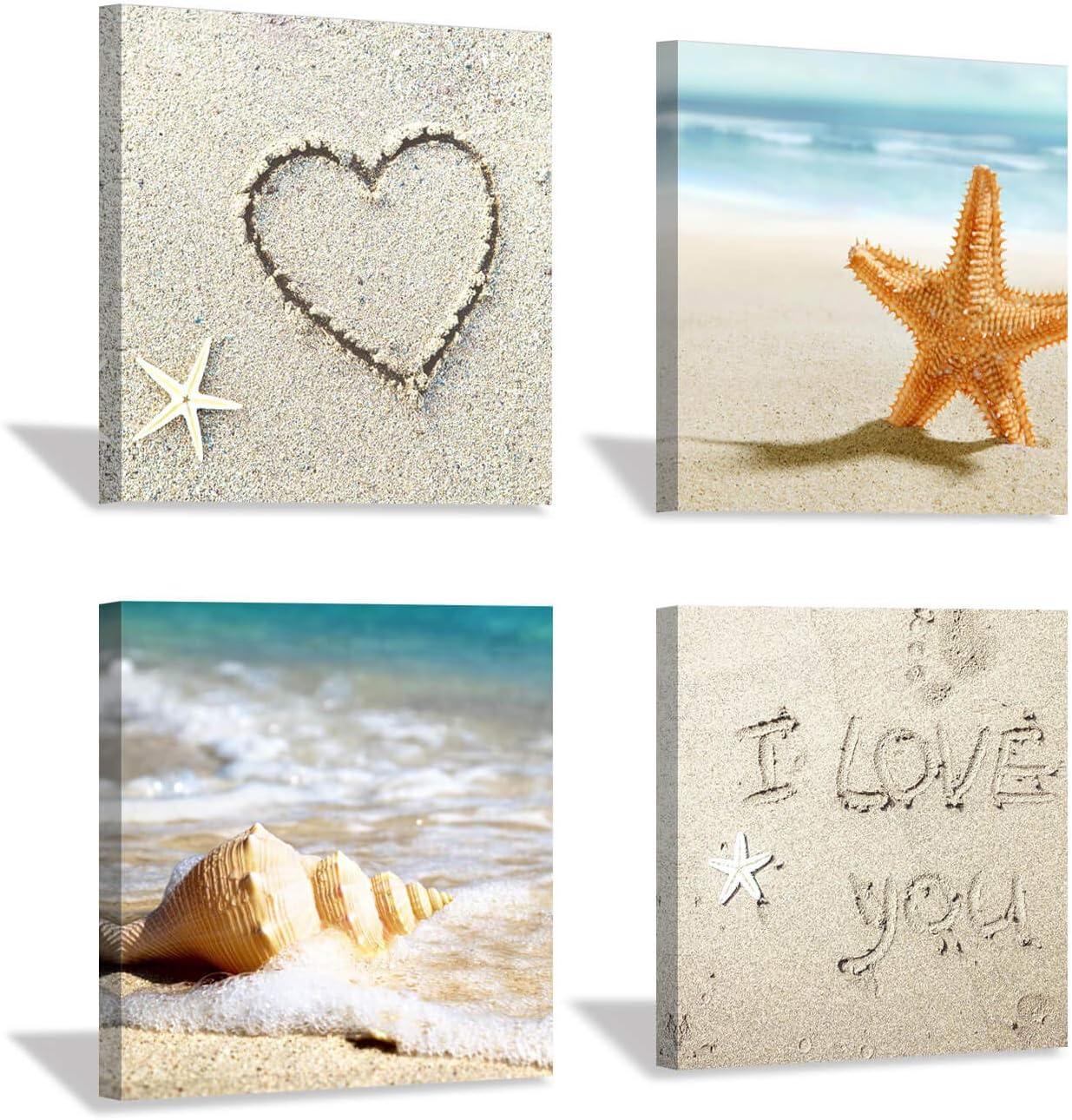 "Coastal Beach Canvas Wall Art: Sandy Seashell and Starfish Painting Print on Canvas for Bathroom Wall Decor (12"" x 12'' x 4 Panels)"