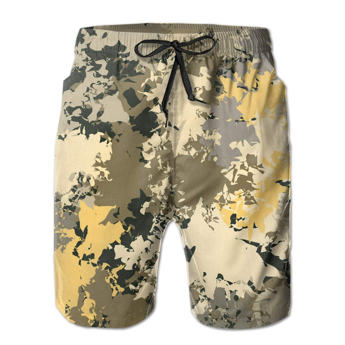 APPCLL Fashion Swim Trunks Mens Board Shorts Camo Paint Yellow and Brown Quick Dry Shorts