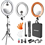 Neewer LED Ring Light 18-inch Outer Diameter with Top/Bottom Dual Hot Shoe, Mirror, Smartphone Holder, Light Stand, Soft Tube