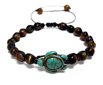 Amazon.com: Ojo de Tigre Piedra Beads Pulsera de tortugas de ...