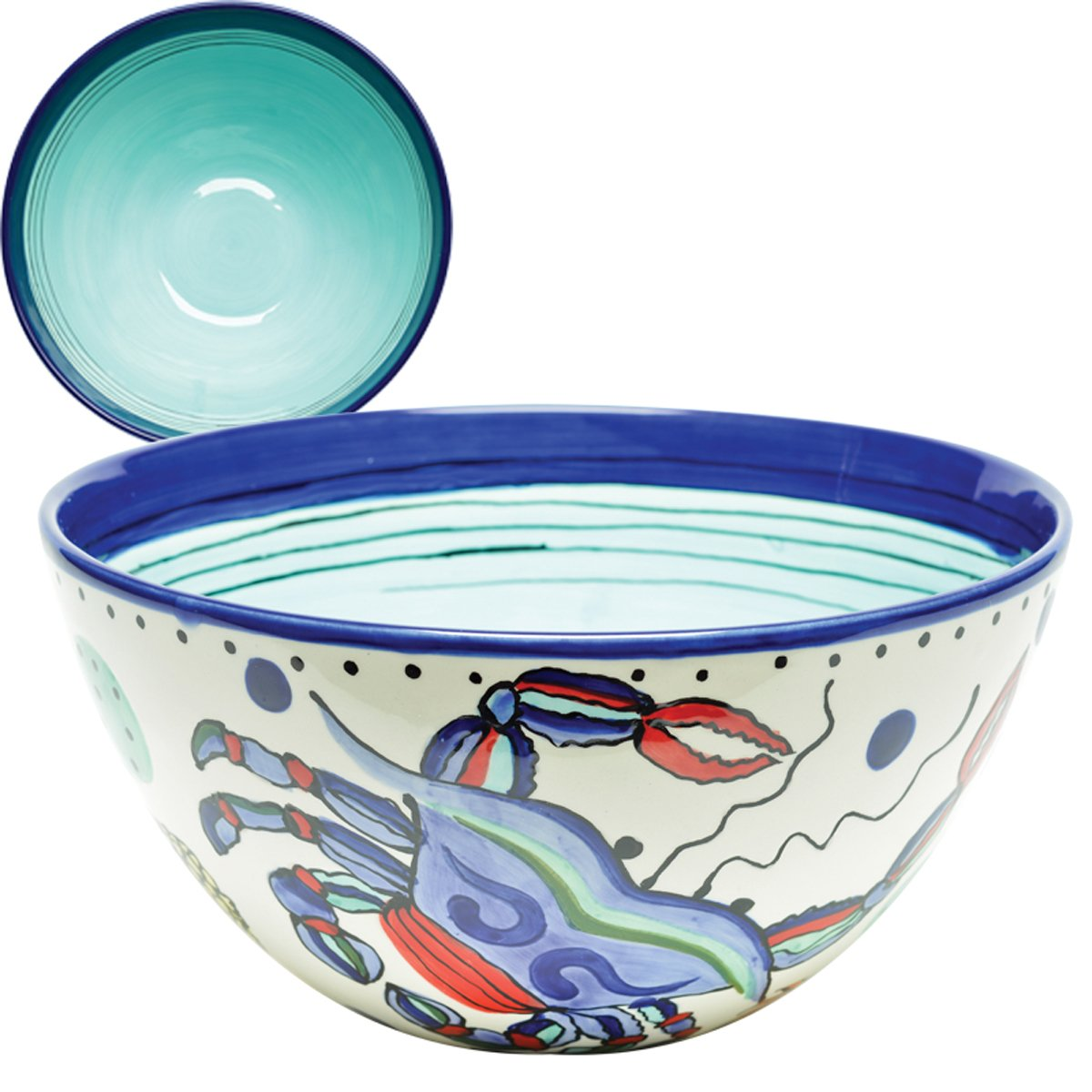 Christmas Tablescape Décor - Medium ceramic whimsical and vibrant crab inspired multicolor serving bowl by Dana Wittmann