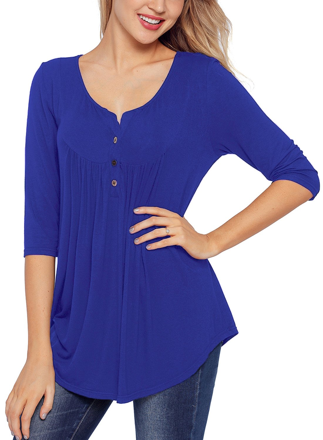FARYSAYS Women's Casual Tee Shirts V Neck 3/4 Sleeve Botton up Loose Fits Tunic Tops Blouses Blue X-Large