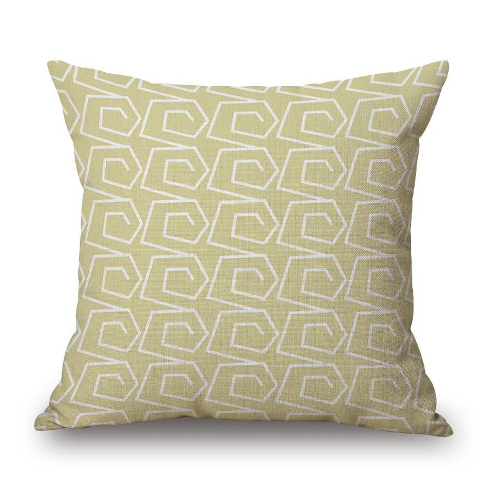 18 x 18 Inches Set of 4 Green Modern Simple Geometric Style Soft Linen Burlap Square Throw Pillow Covers