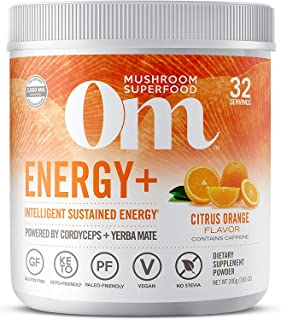 product image for Om Organic Mushroom Nutrition Om Mushroom Superfood Powder, Plus, Citrus Orange, (32 Servings), Cordyceps, Yerba Mate, & Vitamin C, Immune Support Supplement Energy Energy Orange 7.05 Oz (Pack of 1)