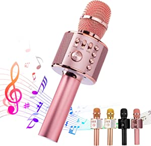 Ankuka Bluetooth Karaoke Microphone, 3 in 1 Multi-Function Handheld Wireless Karaoke Machine for Kids, Portable Mic Speaker Home, Party Singing Compatible with iPhone/Android/PC (Rose Gold Plus)