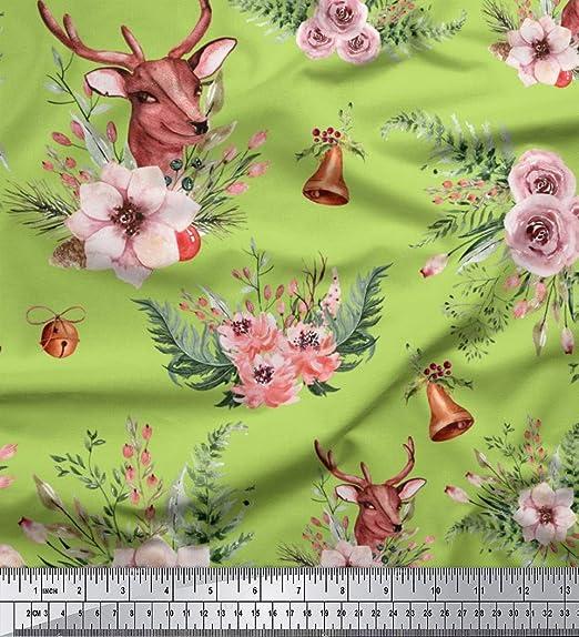 8ba747ab7315 Soimoi Grun Viskose Chiffon Stoff Hirsch   Freesie Blumen- gedruckt Craft  Fabric 1 Meter 42