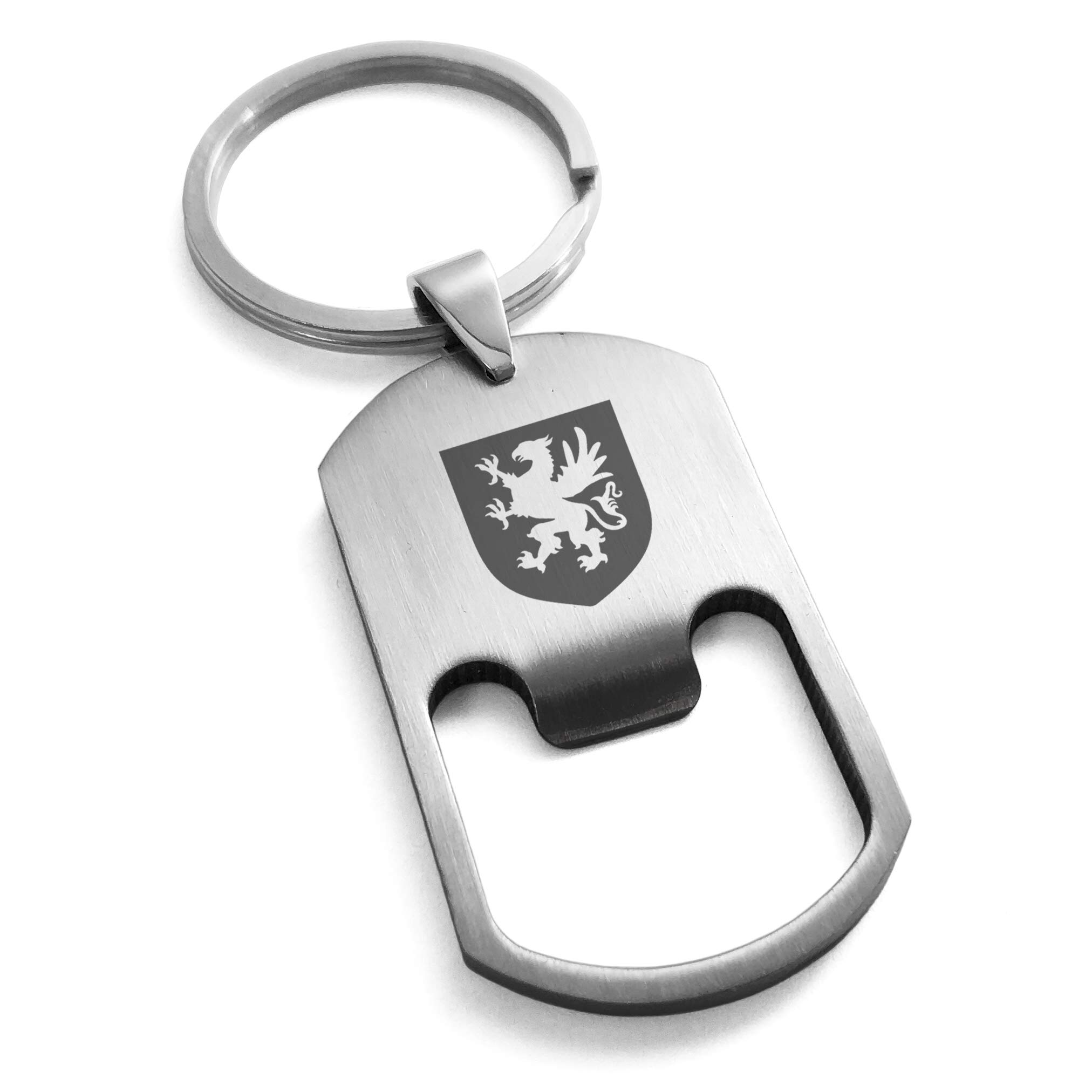 Tioneer Stainless Steel Griffin Valor Coat Arms Shield Engraved Bottle Opener Dog Tag Keychain Keyring