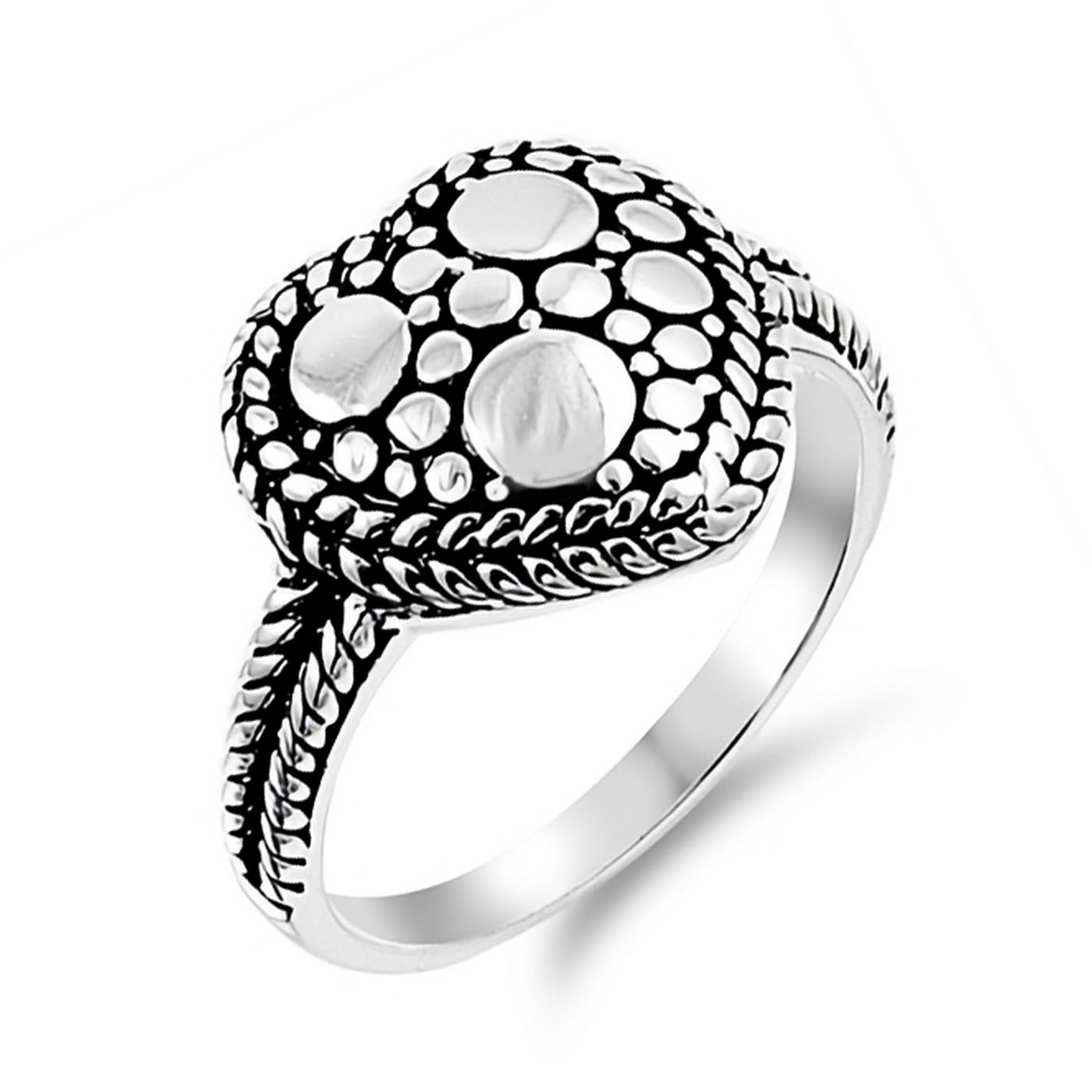 14mm Oxidized Heart Shape Rope Frame Womens Ring 925 Sterling Silver Sizes 5-9
