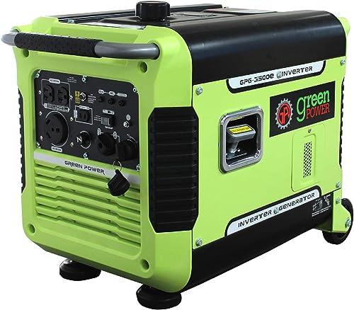 Green-Power America GPG3500iE 3500W Inverter Generator, Green Black