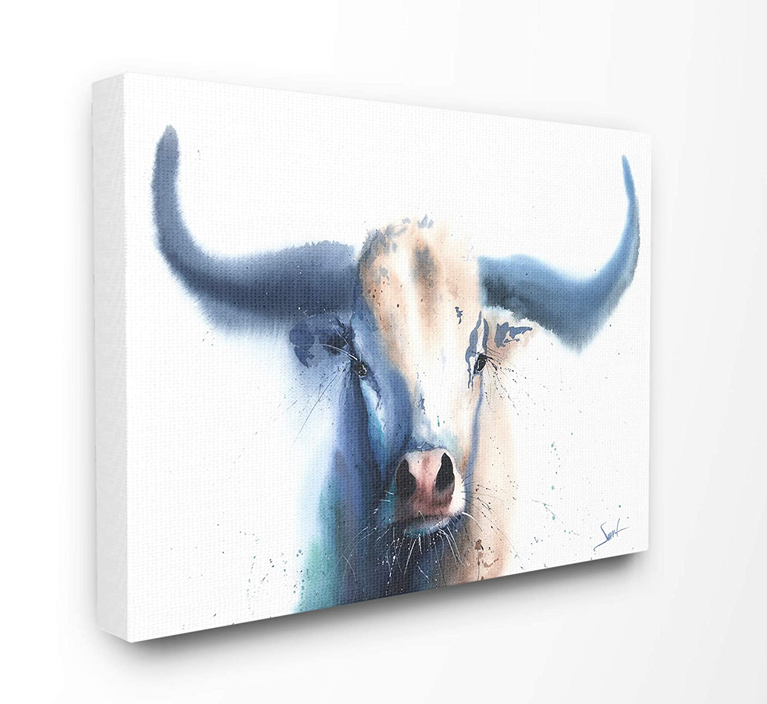 The Stupell Home Decor Bright White and Blue Watercolor Bull Painting Wall Plaque Art 13 x 19 Multi-Color