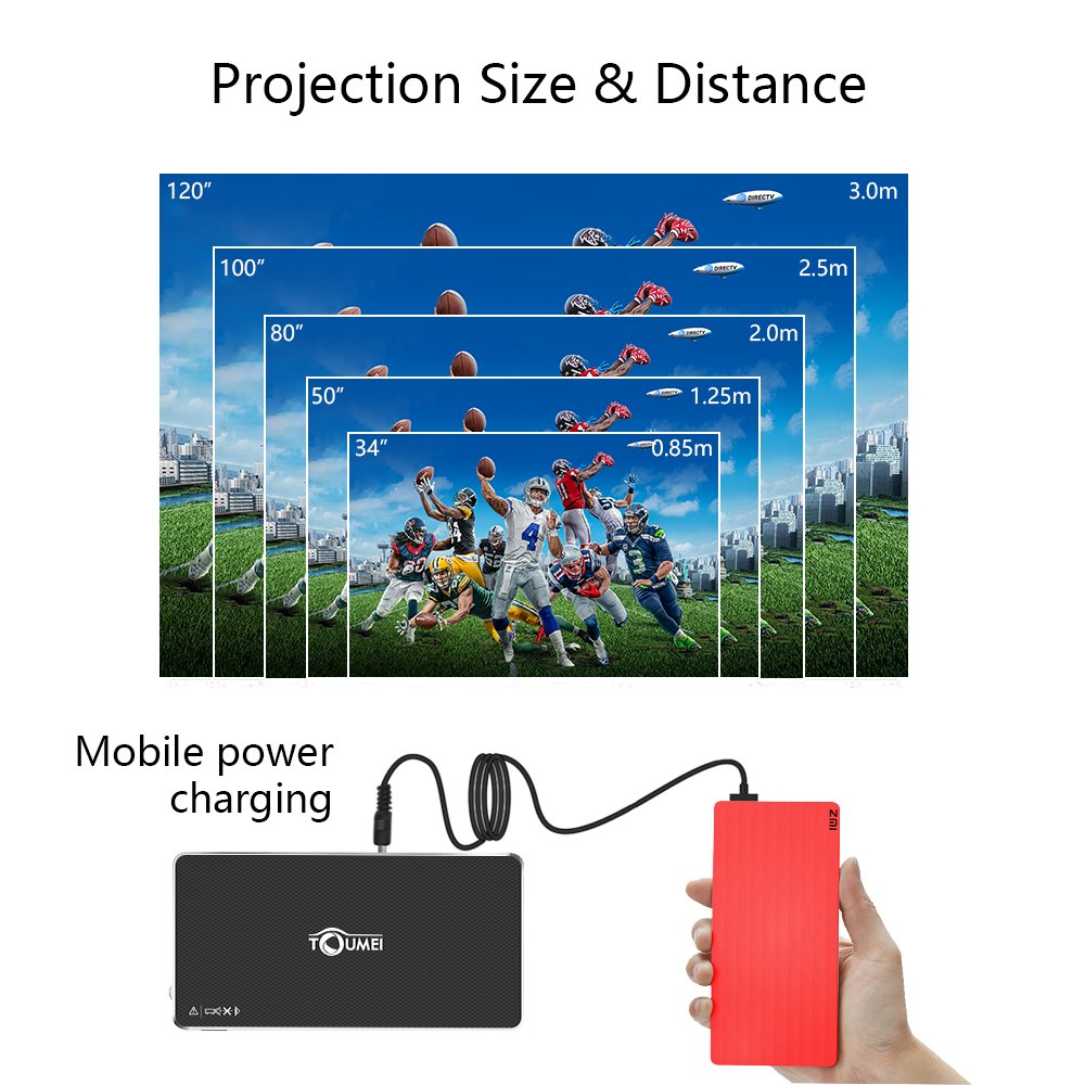 Mini Projector Portable Pico Projector, HD for iPhone Android Laptop Computer, Support 1080P HDMI USB TF Card Wifi Bluetooth for Home Theater Cinema Movie Keystone Correction by TOUMEI by TOUMEI (Image #9)