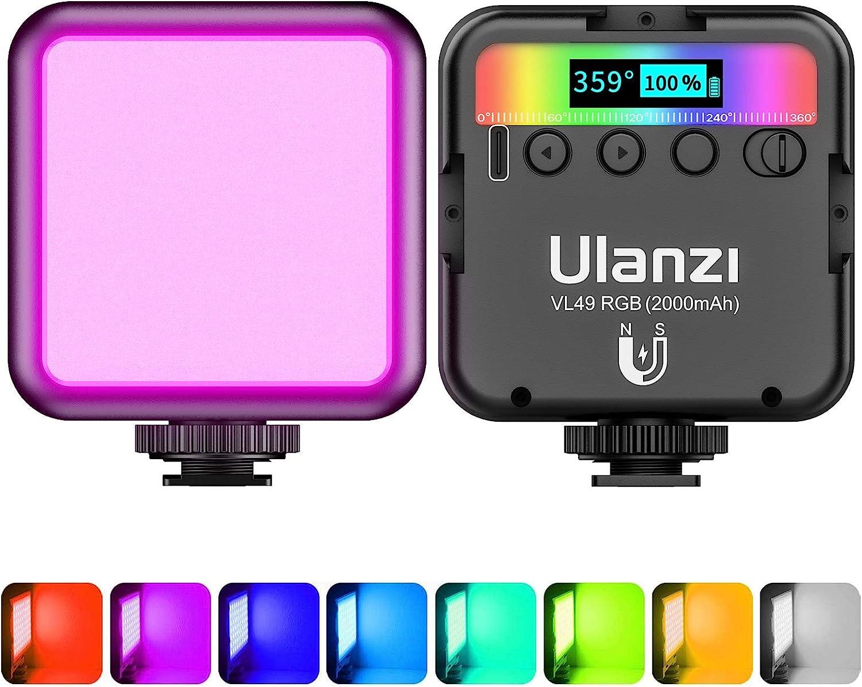 LED Videoleuchte RGB, ULANZI VL49 Videolicht RGB mit 2000 mAh Akku