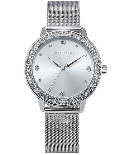 Taylor Cole TC070 - Reloj Mujer Cuarzo de Acero Inoxidable Plateado: Amazon.es: Relojes