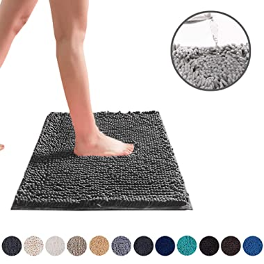 DEARTOWN 24x39 Inchs Bathroom Rug Carpet, Non-Slip Quick Drying Bath Mat with Water Absorbent Soft Microfibers Rugs (24x39 Inches, Dark Gray)