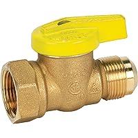 Homewerks - Válvula de bola de gas de alta calidad, rosca hembra x escama, latón, 1/2-Inch FIP x 3/8-Inch FL