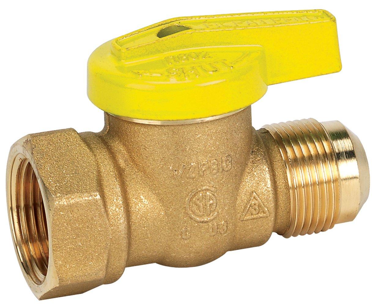 Homewerks VGV-1LH-R2B Premium Gas Ball Valve, Female Thread x Flare, Brass, 1/2-Inch FIP x 3/8-Inch FL