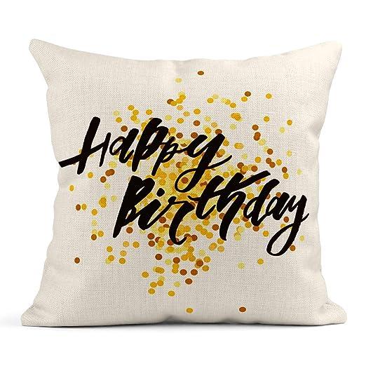 Kinhevao Cojín Aniversario Frase de Letras Feliz cumpleaños ...