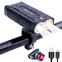 Eclairage Avant,BYBO 2*LED CREE XM USB Rechargeable LED Phare Lampe pour Vélo Puissante,2400 Lumens Lumière, Multi Modes d'éclairage, Antichoc Impermeable IP65