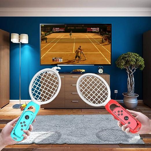 Nosii 2 unids Tennis Gaming Sensor Tennis Racket Handle Controller para Nintendo Switch Mario Tennis Aces Joy-con Controller (Color : Red+Blue): Amazon.es: Hogar