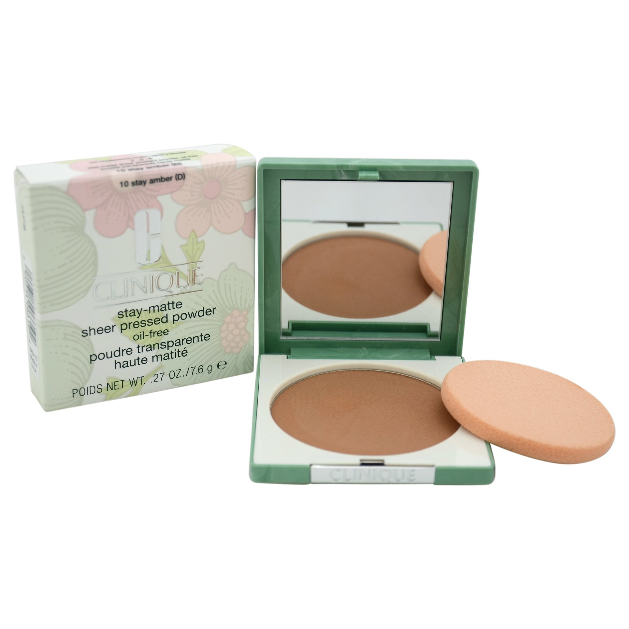 Clinique Women's Stay-Matte Sheer Pressed Powder, 10 Stay Amber, Dry Combination To Oily, 0.27 Ounce