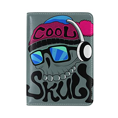 Cool Skull Genuine Leather UAS Passport Holder Travel Wallet Cover Case