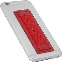 StilGut - Supporto dita per Smartphone in vera pelle con elastico, grande, Rosso