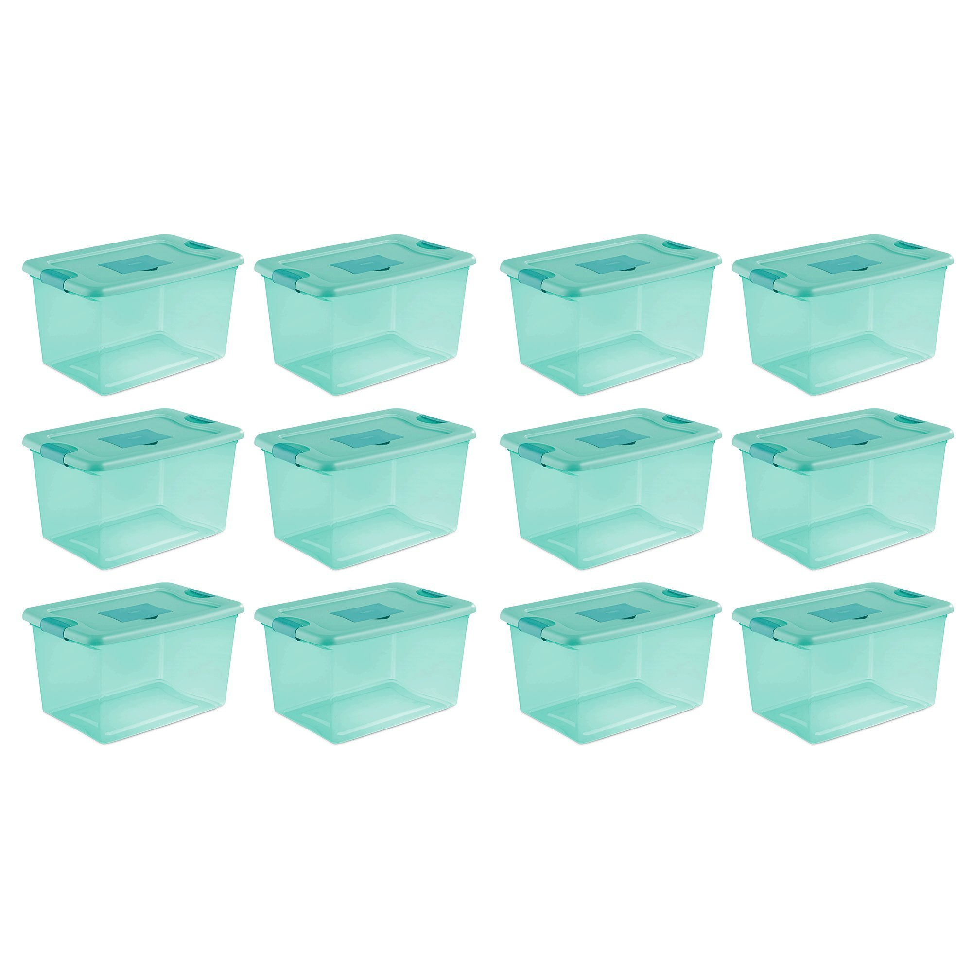STERILITE 64 Quart Fresh Scent Stackable Plastic Storage Box Container (12 Pack)