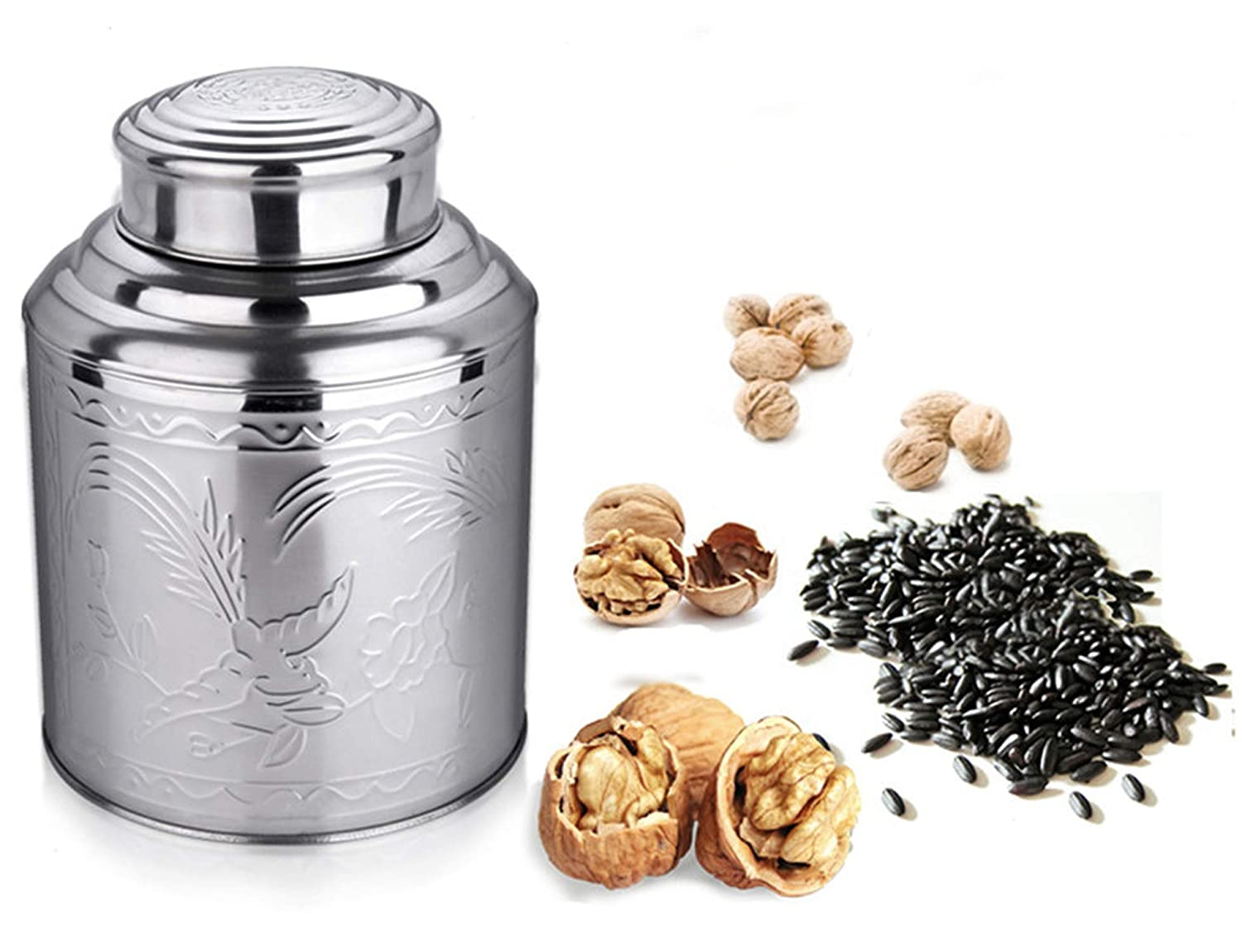 Thick Stainless Steel Tea Box Metal for Chinese Green Tea Storage Tea Caddy Box Coffee Container Walnut Canister 1Pc,10X14Cm for 150G Tea
