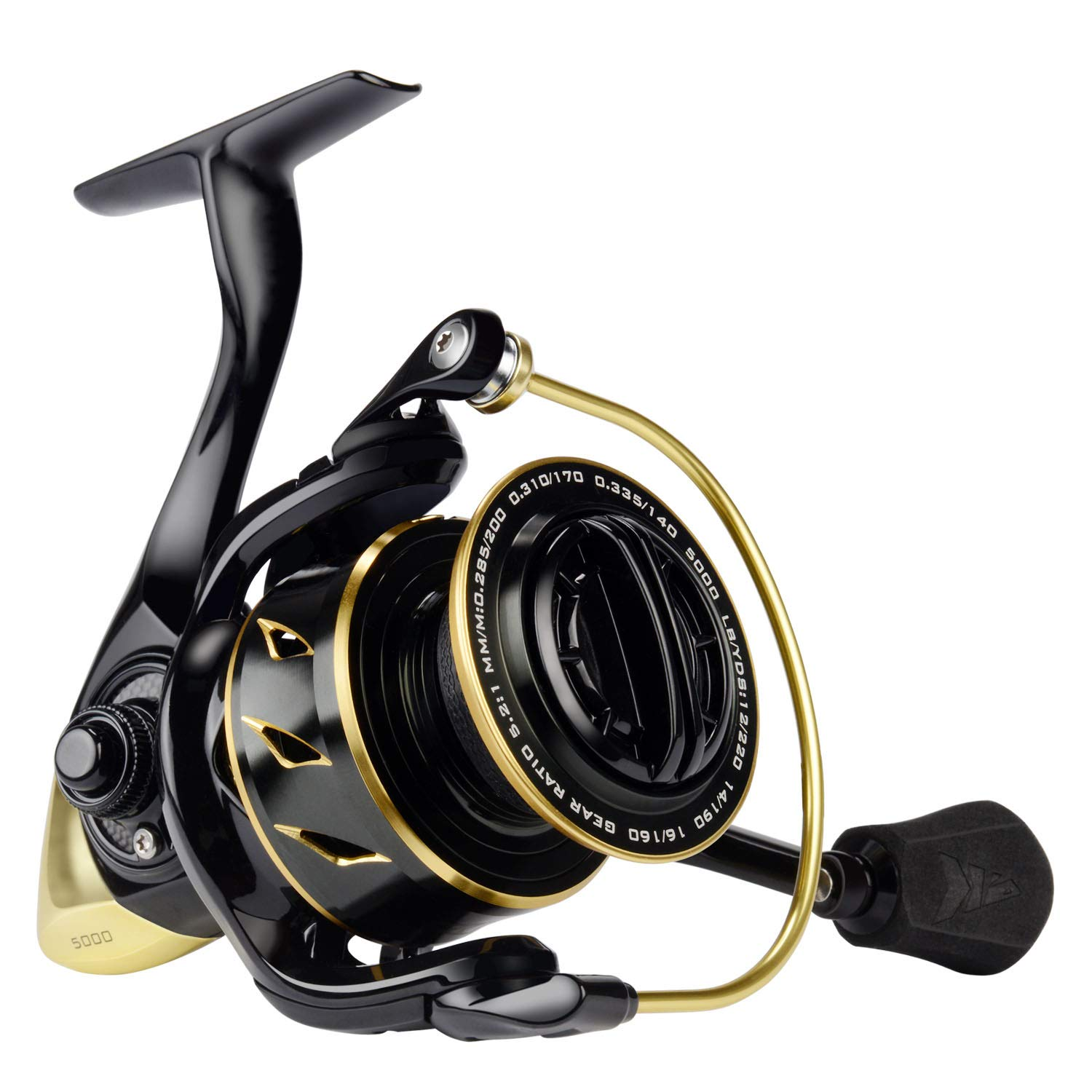 KastKing Sharky III Gold Fishing Reel, Zero-Flex Aluminum Body Spinning Reel, 39.5 Lbs Carbon Drag, 10 1 Double Shielded Ball Bearings, 5.2 1 Gear Ratio, Inshore or Freshwater.