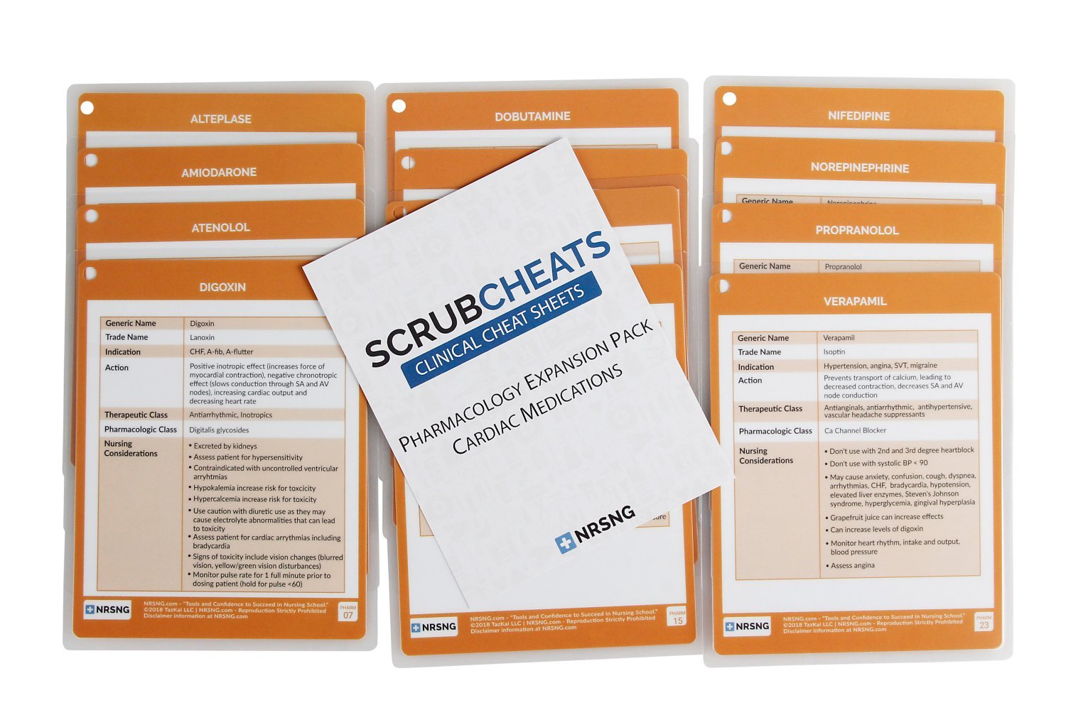 ScrubCheats Expansion Pack: Pharmacology Cardiac Medications by NRSNG (Orange)