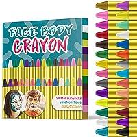 JamBer Pinturas Cara para Niños No Tóxico Pinturas Facial,28 Colores crayones de Pintura Carnaval Halloween, Fiestas…