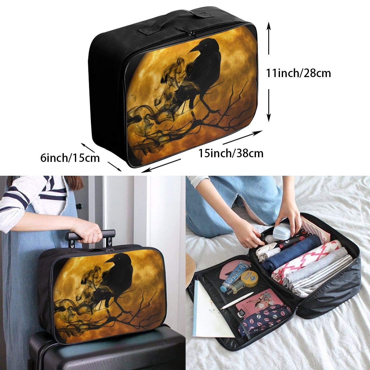Travel Luggage Duffle Bag Lightweight Portable Handbag Moon Crow Large Capacity Waterproof Foldable Storage Tote