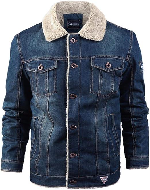 冬の厚いデニムジャケット男性街路壁のカジュアルな暖かい爆撃機デニムジャケットフリースファッションジャケット男性
