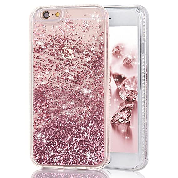 new style 0dd11 40a66 iPhone 6s Case with Liquid, Shinymore Moving Liquid Quicksand Floating  Bling Sparkle Glitter Pearls Beads Pearlet Case with Diamond Pattern Soft  ...