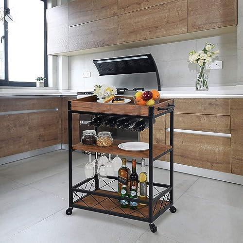 CHARAVECTOR Bar Cart Kitchen Bar Serving Cart