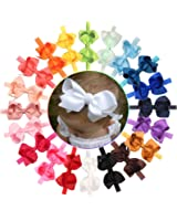 Baby Girls Solid Ribbon Hair Bows Headbands Big Bow Hair Bands for Toddler Pack of 20