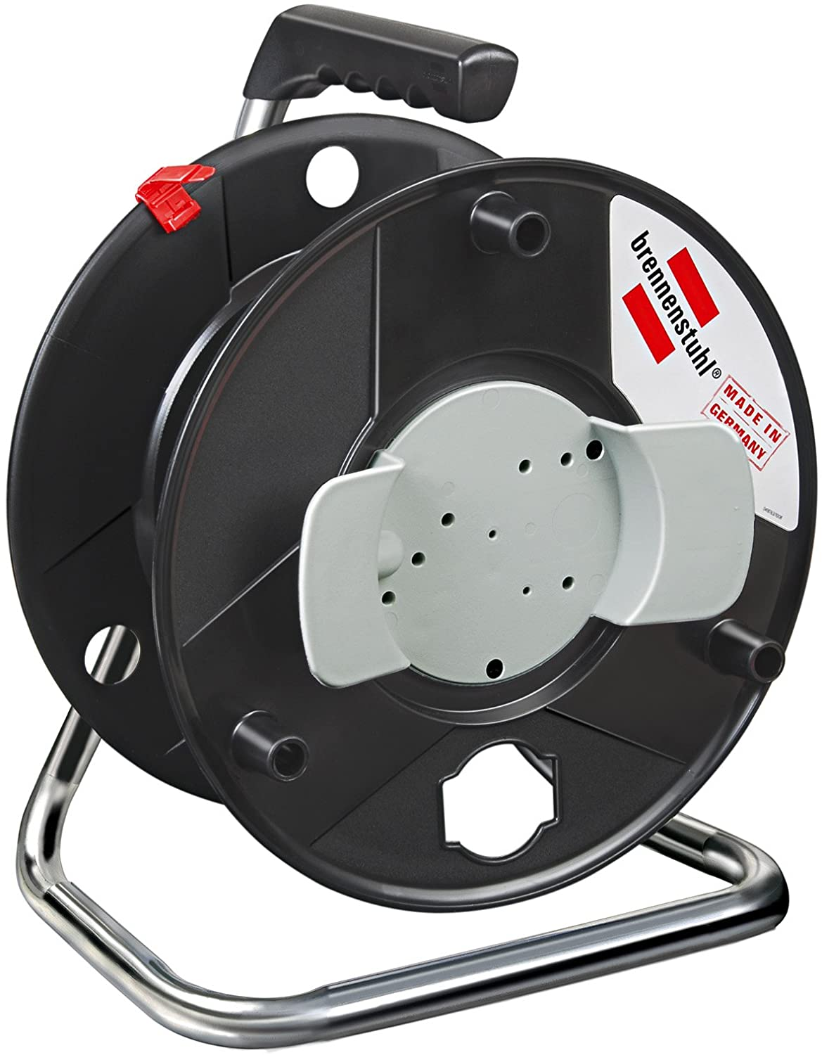 Brennenstuhl Garant hose reel (Ø 290mm, with carry handle, easy winding), empty cable reel for extension cable or garden hose storage, colour: black 1130710