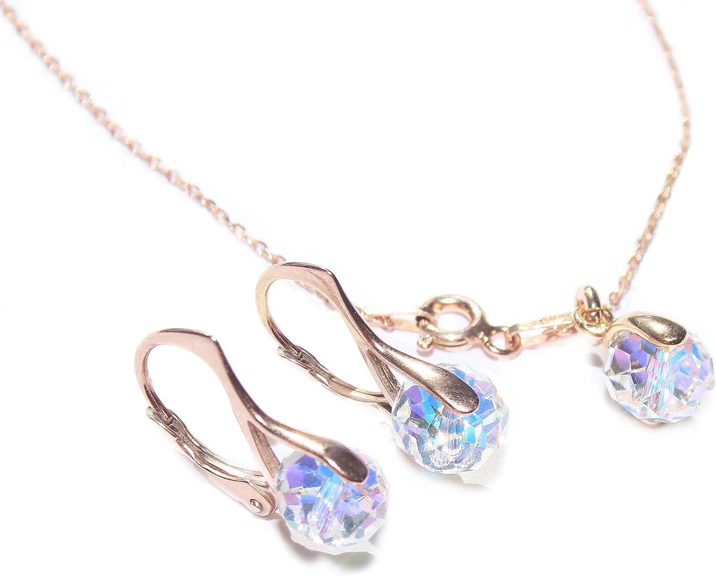 Ah. Joyas Alluring cristales de Swarovski® Aurore Boreale Briolette Juego de pendientes y colgante, collar Set. Plata de Ley chapada en oro rosa. Sello 925.