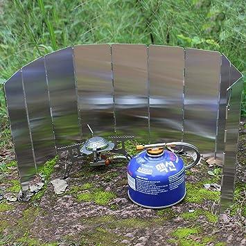 WINOMO 10/Assiettes Pare-Brise Pliable Po/êle Vent /écran Pare-Brise pour Le Camping Pique-Nique