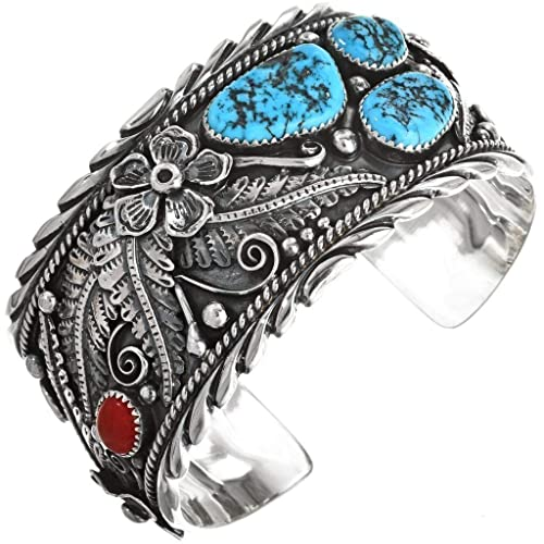 820385670696a Amazon.com: Turquoise Coral Mens Cuff Navajo Sterling Big Boy ...