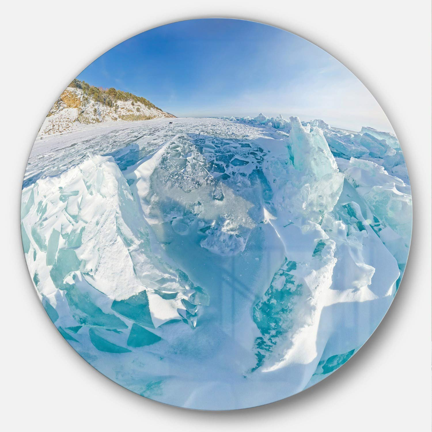 Designart Blue Ice Mountains In Lake Baikal Siberia Landscape Large Metal Wall Art Disc Of 38 38x38 Disc Of 38 Inch White Amazon In Home Kitchen
