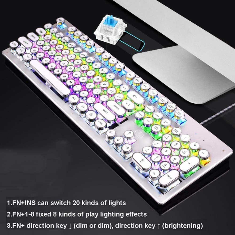 Color : Black Mopoq Mechanical Blue Switch Gaming Keyboard,RGB Backlight Retro Plating Punk Keycaps Multimedia Ergonomic USB Wired Game Keyboard for PC Laptop//Computer
