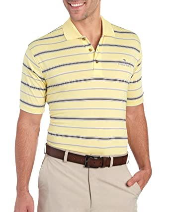 aad73b552 Amazon.com  Pebble Beach Men s Multi Stripe Print Polo Shirt Yellow ...