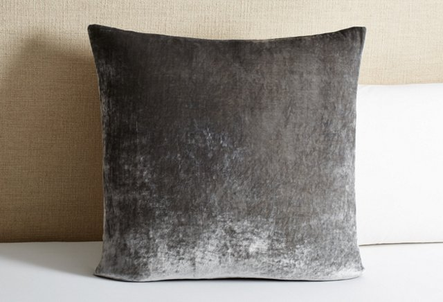 Tailored Velvet Euro Sham, Gray | One Kings Lane