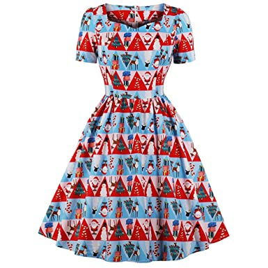 Howley Clearance Dress Women Ball Gown Merry Christmas Hepburn Skirt Holiday Vintage Xmas Print Princess Swing